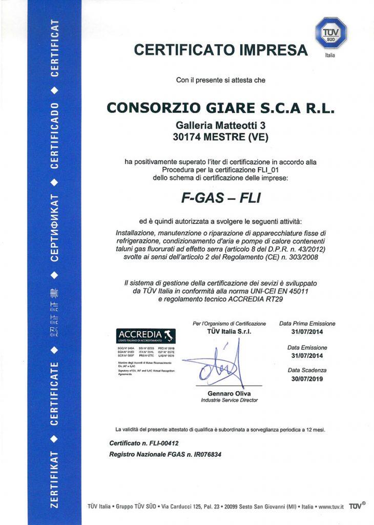 Certificato Impresa F-GAS